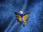 Vintage 3D Art Glass Butterfly 1 Pendant 925 Silver Bale Murano Style Hand made