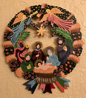 Sri Lanka hand painted nativity scene Wood Wreath Angels VBI Wall Art Christmas