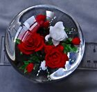 RICK AYOTTE PAPERWEIGHT RED  WHITE ROSES 2000 L E 25 3 1 2