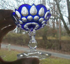ANTQUE 1880s BEAUTIFUL BLUE CUT OVERLAY FOOTED BOWL 3 1 2 TALL