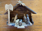Vintage Hand Carved Olive Wood Nativity Scene Creche Manger Christmas Decoration