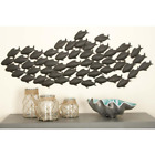 Wall Decor School Of Fish Home Art Hanging Sculpture Coastal Metal 53 x 20 in