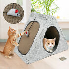 Pet House Scratcher Corrugated Cardboard Cat Plush Playhouse Kitten Scratching