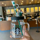 2020 Hot New Starbucks 600ml Green Apron Straw Cup Bear Glass Cup With Topper