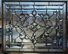 Stained Glass window hanging 26 1 2 X 22 1 4 Brass Frame