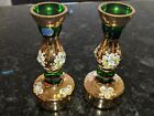 Bohemian Czech Art Glass Antique Two Candle Holders
