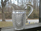 1860s DIAMOND POINT PRESSED PATTERN GLASS CREAMER WITH CRUDE APPLIED HANDLE