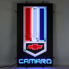 Camaro red white and blue vertical neon sign Backing hand blown real glass tube