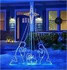 7 Commercial LED Wired Holy Family Nativity Animated Star Christmas Yard Decor