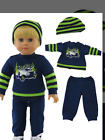 """Caden Doll - 18"""" Doll- New- Blue and Green Striped Pant Set with Beanie and Shoe"""