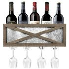 Autumn Alley Rustic Barn Door Wine Rack with Glass Storage  Wall Mounted