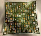Vintage Mid Century Modern Glass Space Age Atomic Square Plate Tray Serving