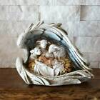 Baby Jesus Adoring Sheep Angel Wings Nativity Scene Christmas Centerpiece 5 inch