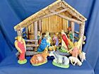 Antique Christmas Wooden 14 pc Nativity Set Manger Made in Italy Bamboo 1930s