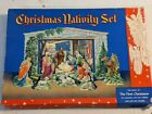 Vintage WW II Era Christmas Nativity Manger Set in Box Made of Cardboard