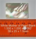 10 pcs Inlay material white mother of pearl shell blanks 38mmx25mm x 15mm