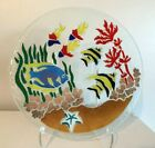 Peggy Karr Multi color Fish Fused Glass 11 Plate
