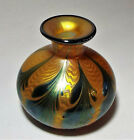 SIGNED LUNDBERG GOLD IRIDESCENT ART GLASS VASE GLORIOUS