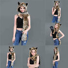 Gift Paws Animal Ears 3in1 Hood Mittens Scarf Faux Fur Women Fashion