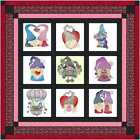Quilt Kit Valentine Gnome Be Mine with 9 Finished Embroidery Blocks