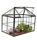 Glass Terrarium Container Geometric House Shape and Top Swing Lid for Home