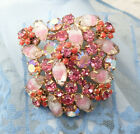 VTG Molded Givre Glass Pink AB Rhinestone Floral Cluster Gold Tone Pin Brooch