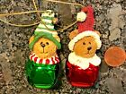 Boyd's Bears Jingle Bell Christmas Tree Ornament Pair Red Green Santa Hats CUTE!