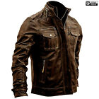 Mens Brown Brando Cafe Racer Biker Motorcycle Distressed Genuine Leather Jacket