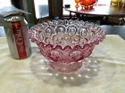 LE Smith Moon  Stars Pink Pedestal Compote Candy Dish Ruffle Pie Crust Edge