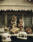ANRI Walter Bacher Wood Carved 5 Nativity Set And Anri Wood Stable