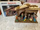 Vintage Sears Nativity Set 7 Finely Crafted Figures Stable Italy with box