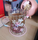 Starbucks Japan Pink Cherry Blossom Glass Water Table Cup W Stirring RodCoaster