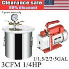 1 15 2 3 5 Gallon Vacuum Chamber Degassing Silicone Kit 3CFM Single Stage Pump