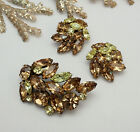 Vintage Regency Lemon Yellow Topaz Rhinestone Floral Pin Brooch Clip Earring Set