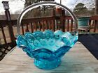 Smith Glass Moon and Star Colonial Blue Clear Handle 11 in Basket