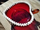 Fenton Art Glass Red Snow Crest Valentine Heart Shape Nappy Bowl