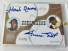 HANK AARON & WILLIE MAYS 2003 Topps Stadium Club Co-Signers Dual On Card Auto