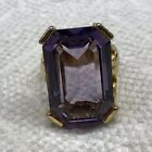 Stunning Vintage Large Glass Amethyst Ring Size 9