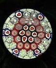 Valentines Heart Floral Millefiori Art Glass Paperweight Red Blue White 3 Round