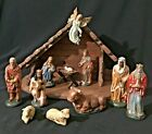 Vintage Hand Painted Christmas Nativity 12 Pieces Manger Creche West Germany