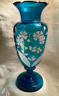 Victorian Antique Blue Glass Vase White Enamel Flowers Hand Blown  Painted EUC
