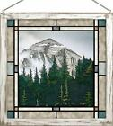 Larry Deacon Morning Mist Mountains II Framed Stained Glass Window Panel