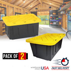 Large Container Storage Box Tough Durable Heavy Duty Plastic Eco Black 2 Pack