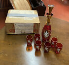 VINTAGE ITALIAN MURANO RED WHISKEY DECANTER SET WITH SIX GLASSES