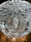 ANTIQUE European crystal CUT GLASS LARGE ROUND DRESSER BOX Snow Flakes no flaws