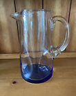 VINTAGE ART GLASS HAND BLOWN PINCHED  DIMPLED WATER PITCHER W COBALT BLUE BASE