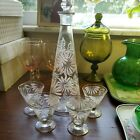 VTG White Pink Gold Flowers Set Decanter Cordial Glasses EUC Rare PERFECT