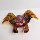 Beautiful Murano Style Art Glass Crab Red Amber With Multicolor Back 9 in