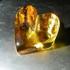 BRAND NEW LARGE CITRUS HEART SIGNED by Fire and Light Recycled Art Glass