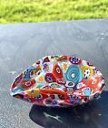 Gorgeous VTG Signed MURANO MULTI COLOR MILLEFORI Freeform Bowl Glass Of Venice